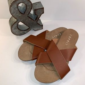 ESPRIT Brown Leather Criss Cross Slip On Sandals